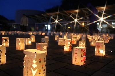 町内全小中学校生徒の祈りの灯籠